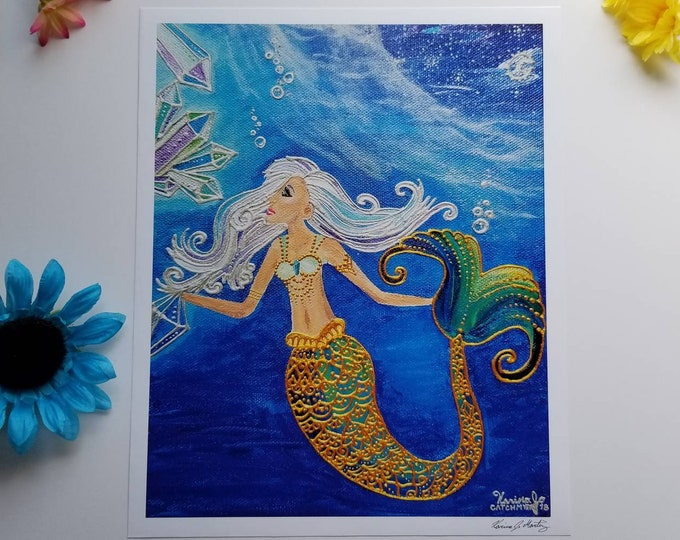 Crystal Mermaid Poster Print l 11×13.5 art 12×14 w border |Acrylic Painting Art Print l Dorm Decor l Art Print l  Ocean Blue l Moon & Sea