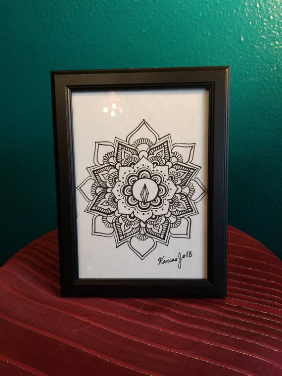 Crystal Flower Mandala Original Pen & Ink Drawing 5×7"