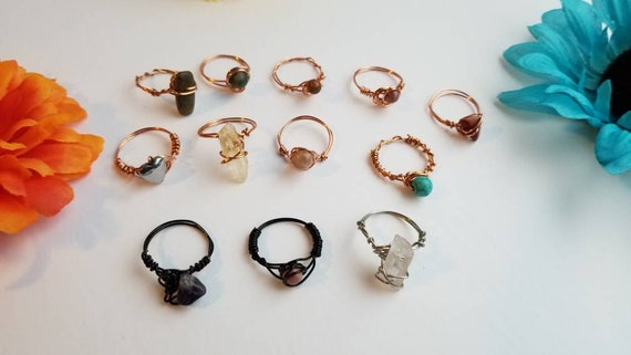 Size 9 Reiki Crystal Rings | Handmade Wire Wrapped Copper Ring with Stone Bead |