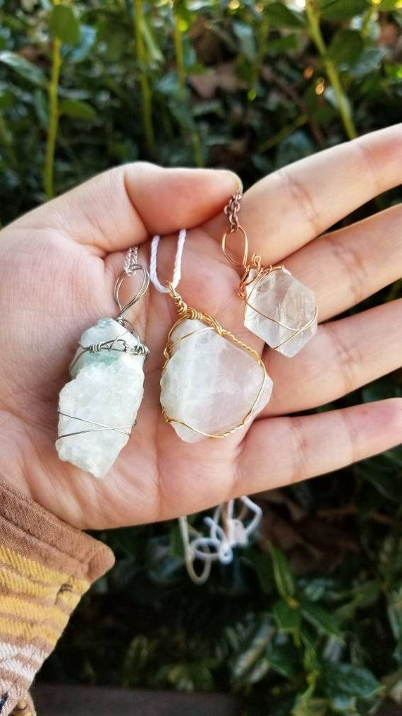 Fluorite Crystal Necklace | Crown & Heart Chakra| Stress Relief | Calming | Hand Wrapped and Reiki Blessed Jewelry