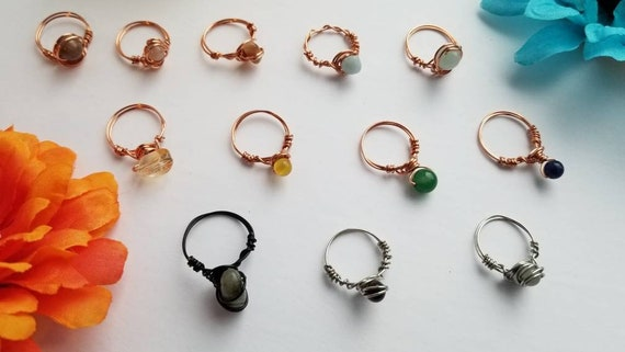 Size 6 Reiki Crystal Rings | Handmade Wire Wrapped Copper Ring with Stone Bead |
