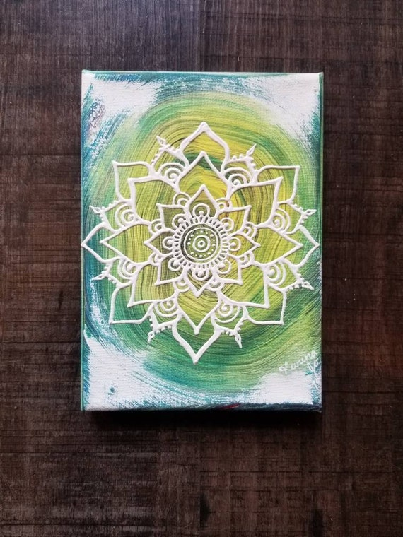 Free Spirit Mandala Original Acrylic Painting| 5×7 Original Canvas | White, Yellow and Blue Freehand Art | Home Decor| Reiki Blessed