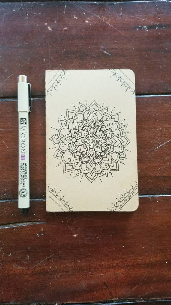 "Mandala Artwork Hand-Drawn Journal | 64 Page Blank Moleskine Journal | 3 1/2 x 5 1/2"" | Unique Henna Inspired Artwork Gift"