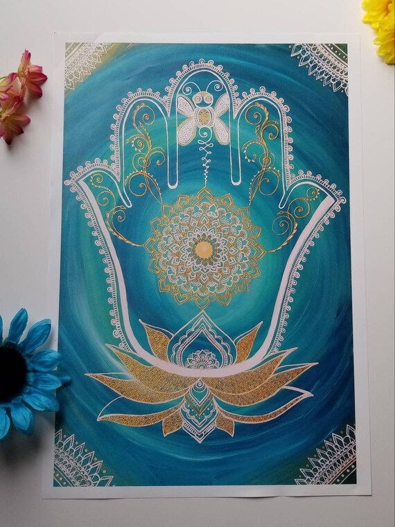 "Dragonfly Hamsa Lotus Art Print 12×18"" art 13×19"" w border |  Freehand Hamsa Poster Print l Art Print l Acrylic Painted Artwork"