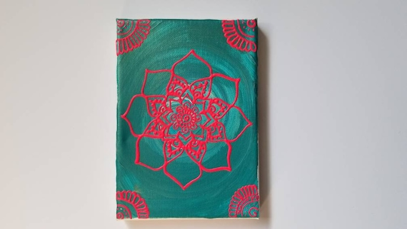 Pink Neon Mandala Original Acrylic Painting| 5×7 Original Canvas | Pink and Blue Freehand Art | Home Decor| Reiki Blessed