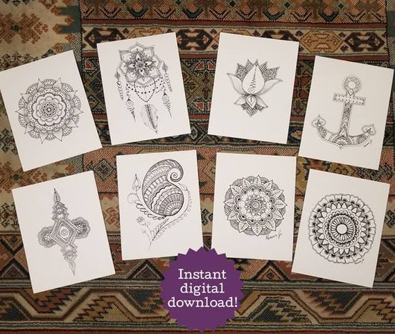 PRINTABLE 20 Mandala & Henna Inspired Coloring Pages / Poster | Instant Digital Download | Print Freehand Pen and Ink Artwork Book | Mandala