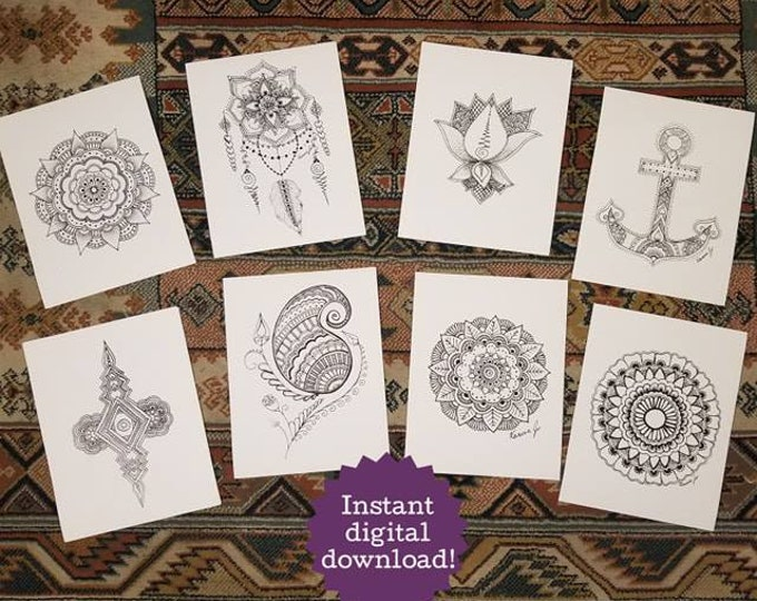 Mandala & Henna Inspired Coloring Book 20 Printable Pages Freehand Drawn + 30 BONUS Intuitive Drawings | Poster | Instant Digital Download