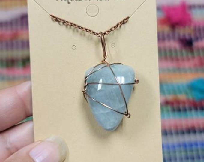 Aquamarine Copper Wrap Necklace   Reiki Infused throat Chakra Crystal Jewelry   Communication and Expression Intention