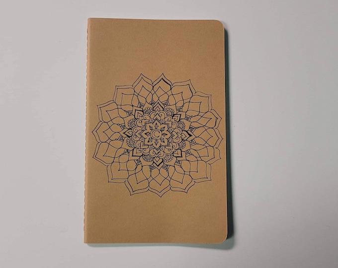 "Crystal Memory Mandala | 80 page Blank Moleskine Journal | 5x8 1/4"" | Henna Inspired Artwork Gift"