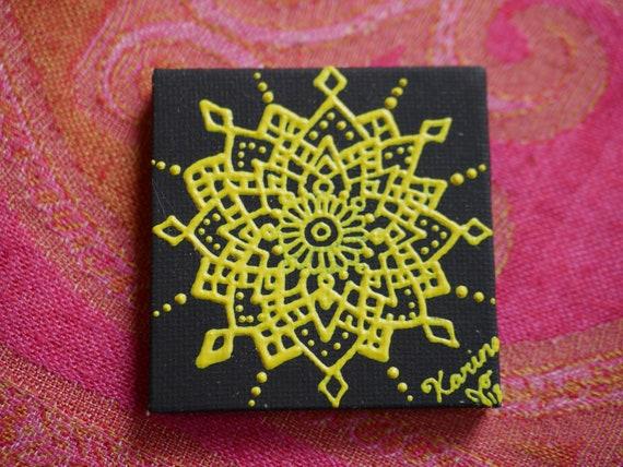 Yellow Mandala on a Black Mini Canvas | 2.5×2.5 Original Painting | Artwork Room Decor