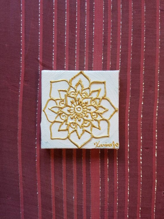 Golden Mandala on a white Mini Canvas | 2.5×2.5 Original Painting | Artwork Room Decor