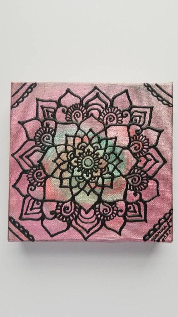 "Desert Spring Mandala 6x6"" Original Painting | Intuitive Reiki Blessed Artwork | Home & Office Wall Art"