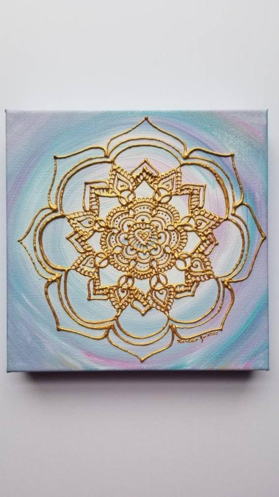 A Little Love Goes a Long Way 8x8 Acrylic Painting   Original Freehand Mandala Reiki Art