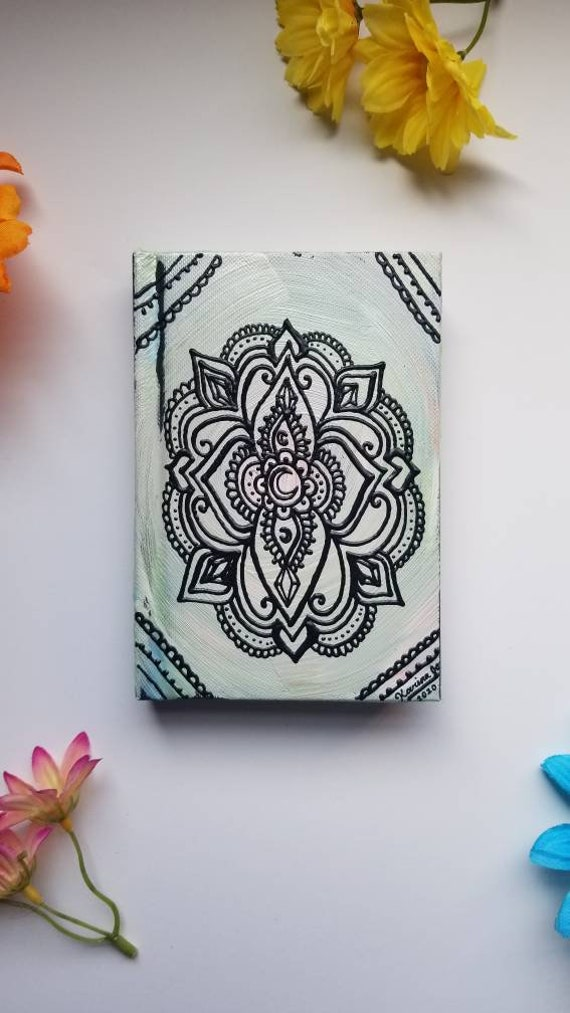 "Moon Faith Freehand Painted Mandala Sketchbook /Journal | 4×6"" 110 Page Hardcover 