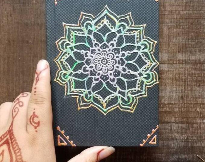 "Original Freehand Painted Rainbow Mandala Sketchbook / Journal | 4×6"" 110 Page Hardcover | colorful  Artwork | Henna Inspired Design"