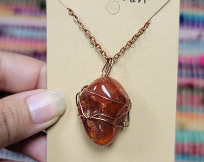 Carnelian Crystal Necklace   Root Chakra  Stability, Courage & Creativity Intention   Hand Wrapped and Reiki Blessed Jewelry