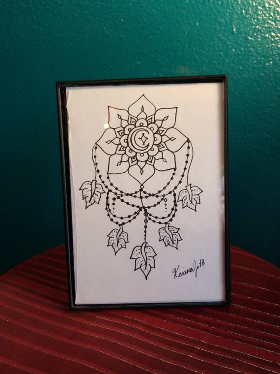 Star and Moon Dream Catcher Original Pen & Ink Drawing 5×7"