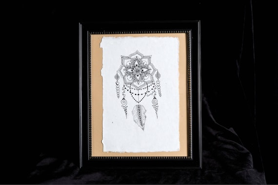 Catching Dreams | 8x10 framed originl pen and ink drawing | Handmade Gift | Freehand drawn Decor | dream catcher