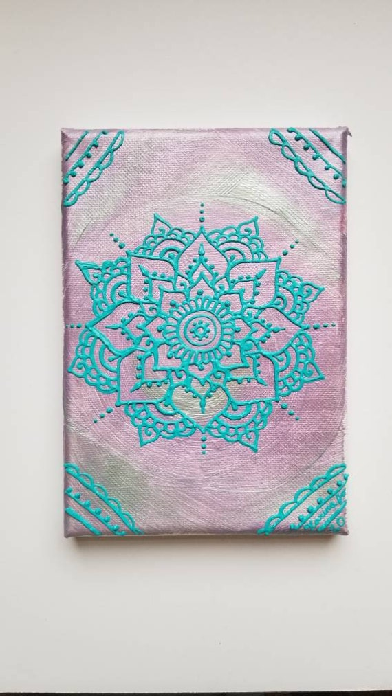 Waking Frost Mandala Original Acrylic Painting| 5×7 Original Canvas | purple, and Blue Freehand Art | Home Decor| Reiki Blessed
