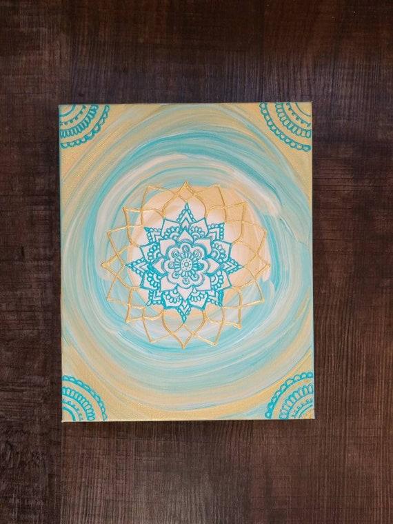 Blue Gold Mandala | 8x10 Intention Art | Freehand Acrylic Painting | Spiritual Reiki Blessed Home Decor