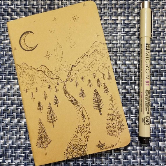 Mountain Woodland Moon & Stars Hand-Drawn Design | 64 Page Blank Moleskine Journal | 3 1/2 x 5 1/2"