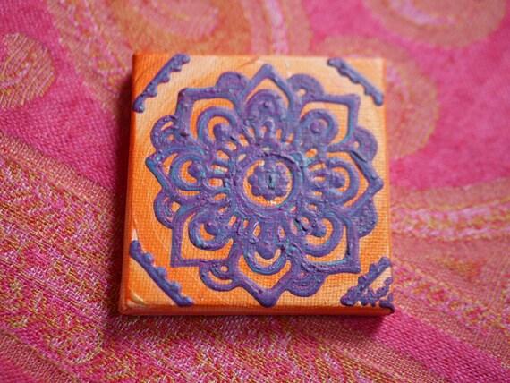 Purple Blue Mandala on an Orange Swirl Mini Canvas | 2.5×2.5 Original Painting | Artwork Room Decor