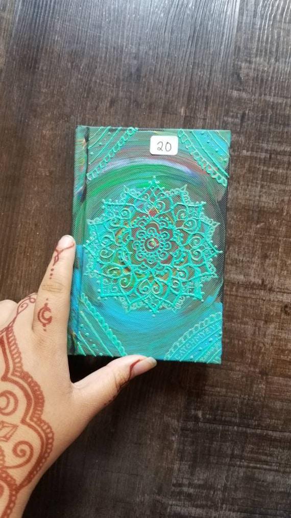 "Original Freehand Painted Mandala Sketchbook / Journal   4×6"" 110 Page Hardcover   Rainbow Turquoise  Artwork   Henna Inspired Design"