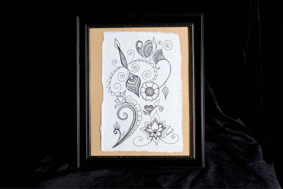 Floral Springs | 8x10 framed originl pen and ink drawing | Handmade Gift | Freehand drawn Decor | henna style artwork