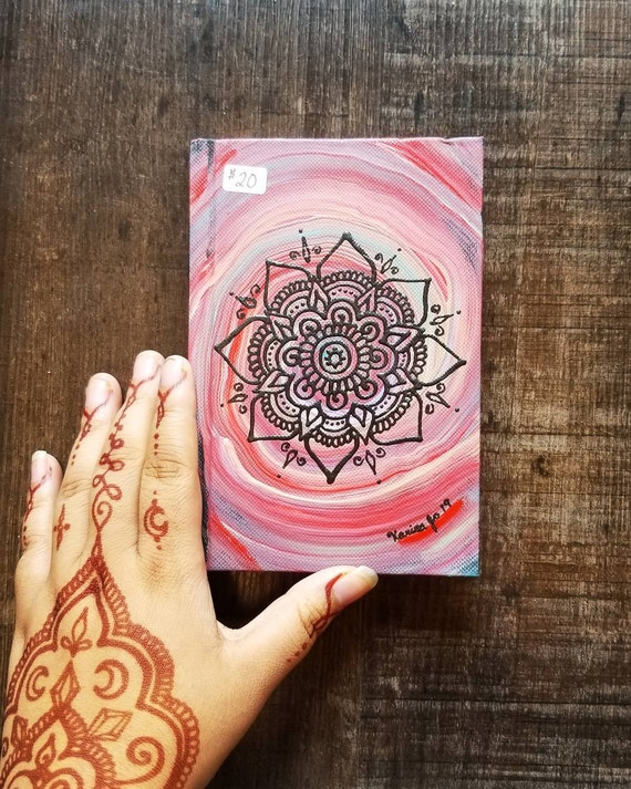 "Original Freehand Painted Mandala Sketchbook / Journal | 4×6"" 110 Page Hardcover 