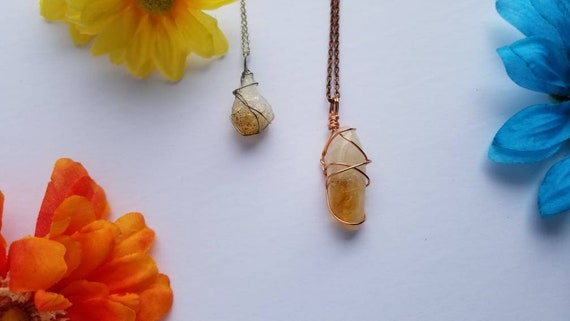 Citrine Crystal Necklace | Solar Plexus Chakra| Success | Good Fortune | Hand Wrapped and Reiki Blessed Jewelry
