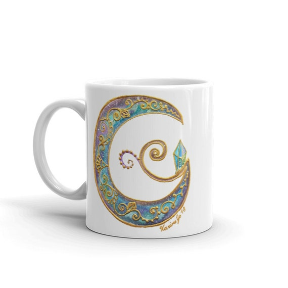 Crystal Moon Galaxy Goddess Mug | Watercolor & Acrylic Freehand Painting Coffee Cup Art Print