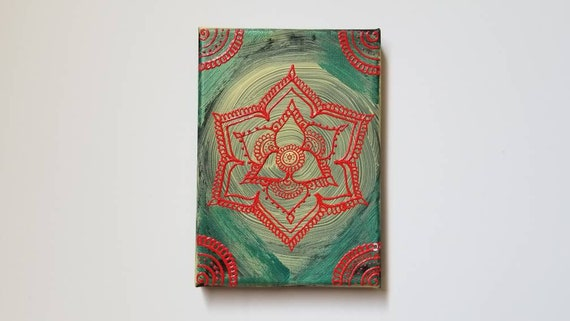 Flower from the Garden Mandala Original Acrylic Painting| 5×7 Original Canvas | Red and Blue Freehand Art | Home Decor| Reiki Blessed
