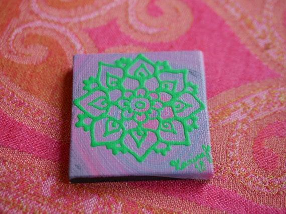 Green Mandala on a Pink Purple Swirl Mini Canvas | 2.5×2.5 Original Painting | Artwork Room Decor