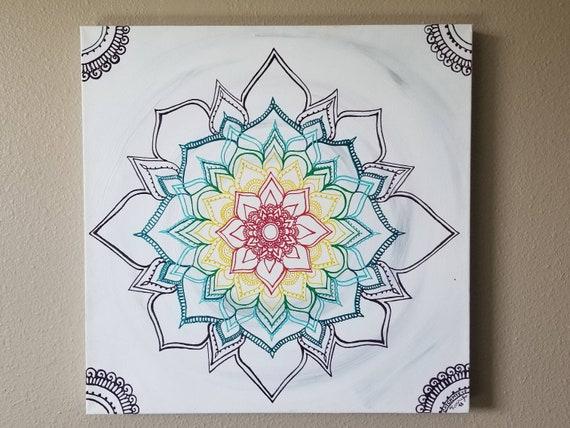 "Warm Winter Chakra Mandala 20x20"" Original Painting | Intuitive Reiki Blessed Artwork | Home & Office Wall Art"