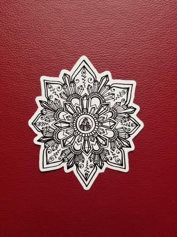 Crystal Mandala Sticker | Art Freehand Drawn Car Decal | Artist Print | Mandala & Henna Inspired