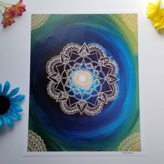 "The Portal Manadala Art Print 12×15"" art 13×16"" w border |  Freehand Mandala Poster Print l Art Print l Painted Artwork"