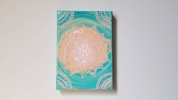 Pink Lace Mandala Original Acrylic Painting| 5×7 Original Canvas | pink and Blue Freehand Art | Home Decor| Reiki Blessed