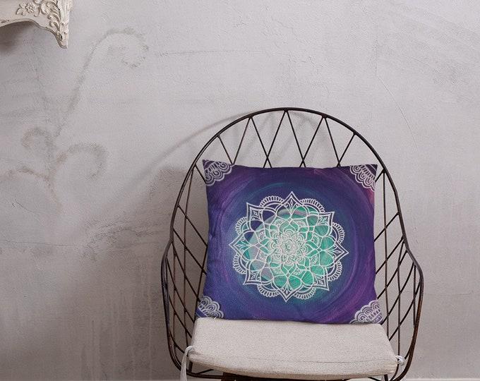 Intuition Mandala Pillow | Crown chakra reiki decor | healing mandala art print | Freehand Intuitive Artwork | 18x18