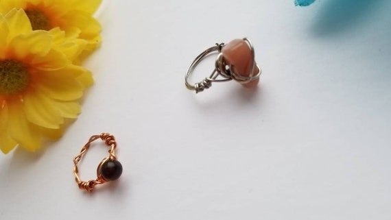Size 4 Reiki Crystal Rings | Handmade Wire Wrapped Copper Ring with Stone Bead |