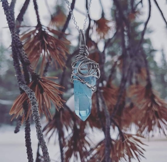 Aqua Aura Quartz Crystal Necklace | Throat Chakra| Mind Expanding & Manifesting | Hand Wrapped and Reiki Blessed Jewelry
