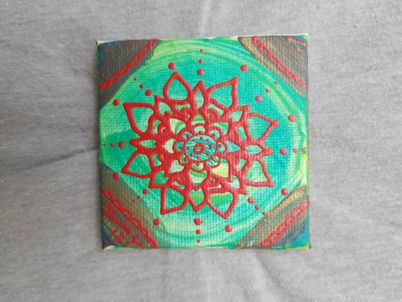 Red and Green & Blue Mandala Mini Magnet Canvas