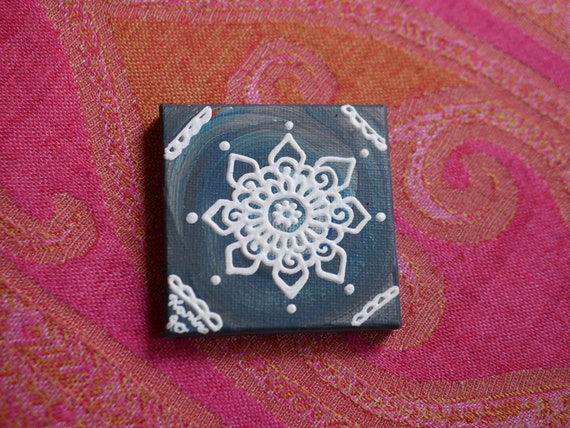 White Mandala on a Deep Blue Swirl Mini Canvas | 2.5×2.5 Original Painting | Artwork Room Decor