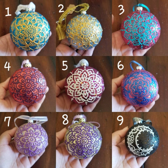 Hand-painted Holiday Ornaments | Handmade mandala art gift