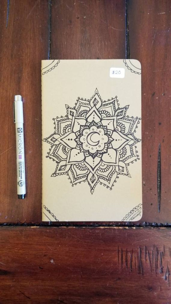 Crystal Crescent Mandala Hand-Drawn Design | 80 Page Blank Moleskine Journal | 5×8 1/4"