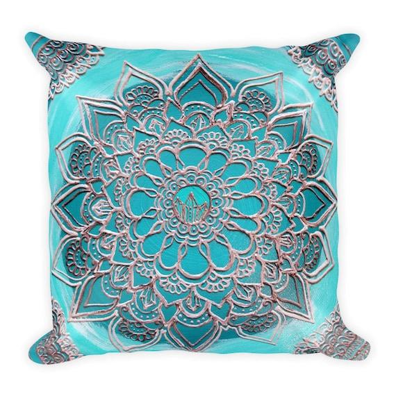 Crystal Sea Mandala Square Pillow