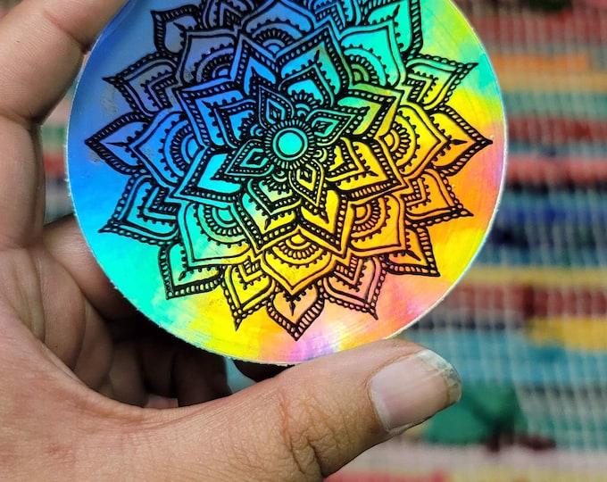 "Crystal Moonlight 3"" Sticker   Waterproofs Holographic Sticker   Mandala Print"