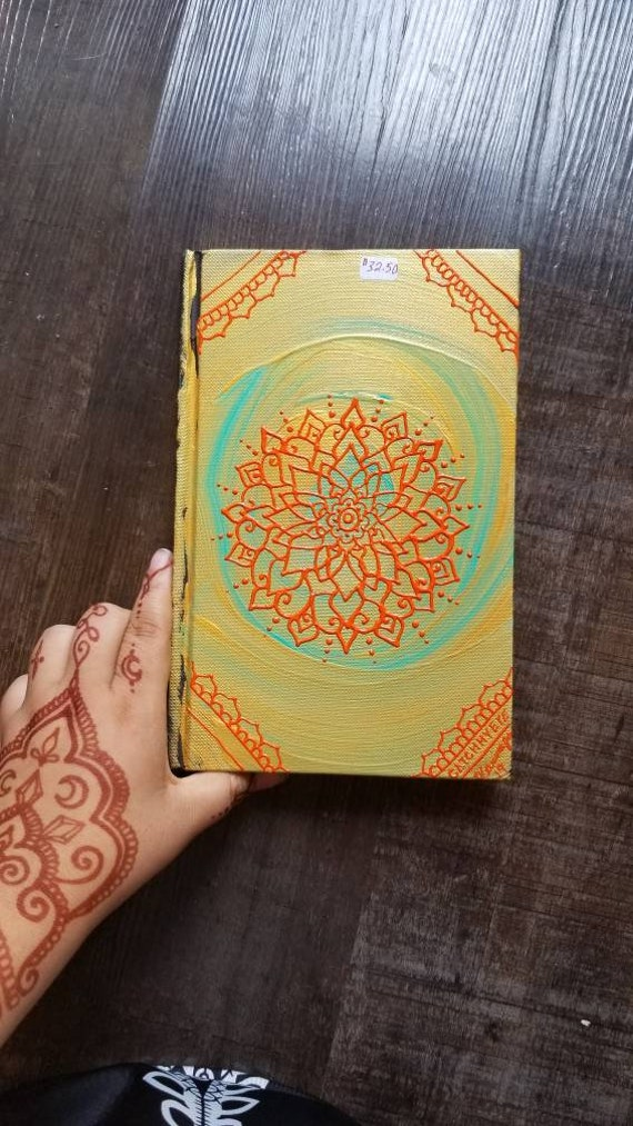 "Original Freehand Painted Gold, Teal & Orange Mandala Sketchbook/ Journal | 5.5×8.5"" 110 Page Hardcover 