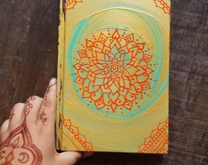 "Original Freehand Painted Gold, Teal & Orange Mandala Sketchbook/ Journal | 5.5×8.5"" 110 Page Hardcover | colorful  Artwork | Henna Inspired"
