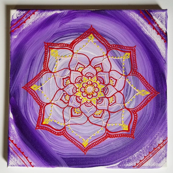 Rooted Crown Mandala | Crown & Root Intention Mandala| Reiki Charged Acrylic Painting | Home Decor | Sacred Space Art