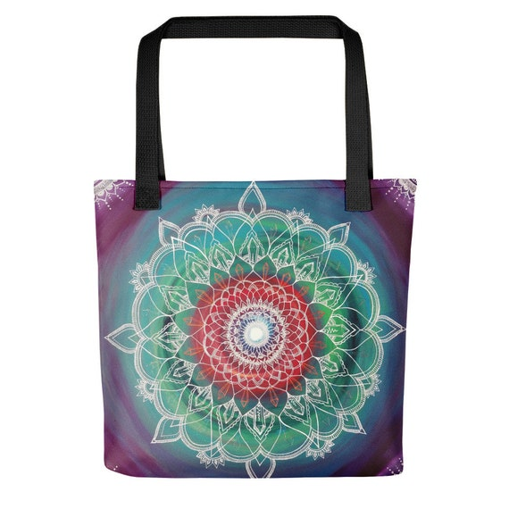 Frequency Portal Mandala Tote bag | blue, purple, green, and red swirl | Freehand Painted Crystal Mandala | Art Print